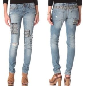 Free People Baja Patch Distressed Skinny Jeans
